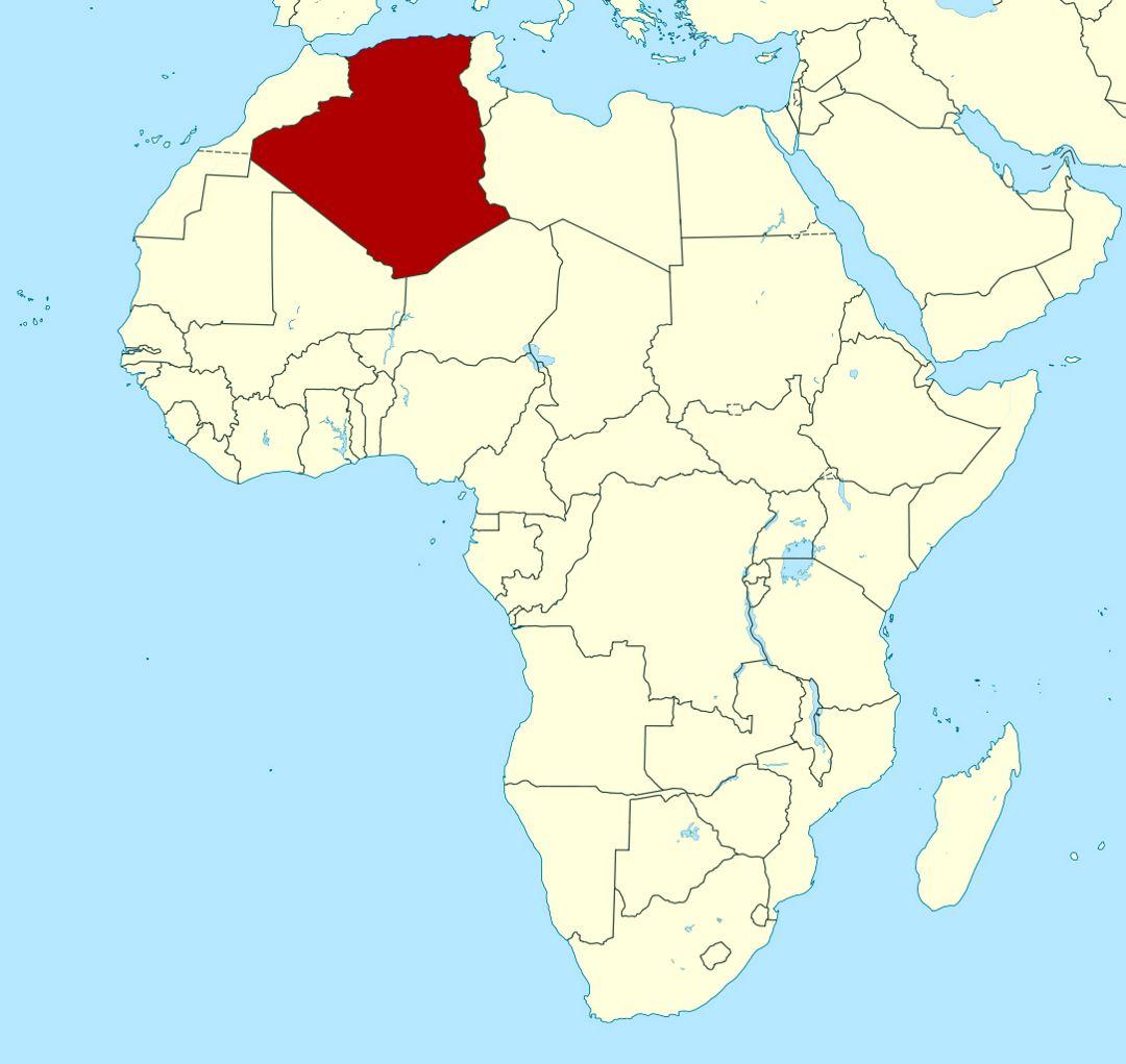 detallado mapa de ubicación de argelia | argelia | África