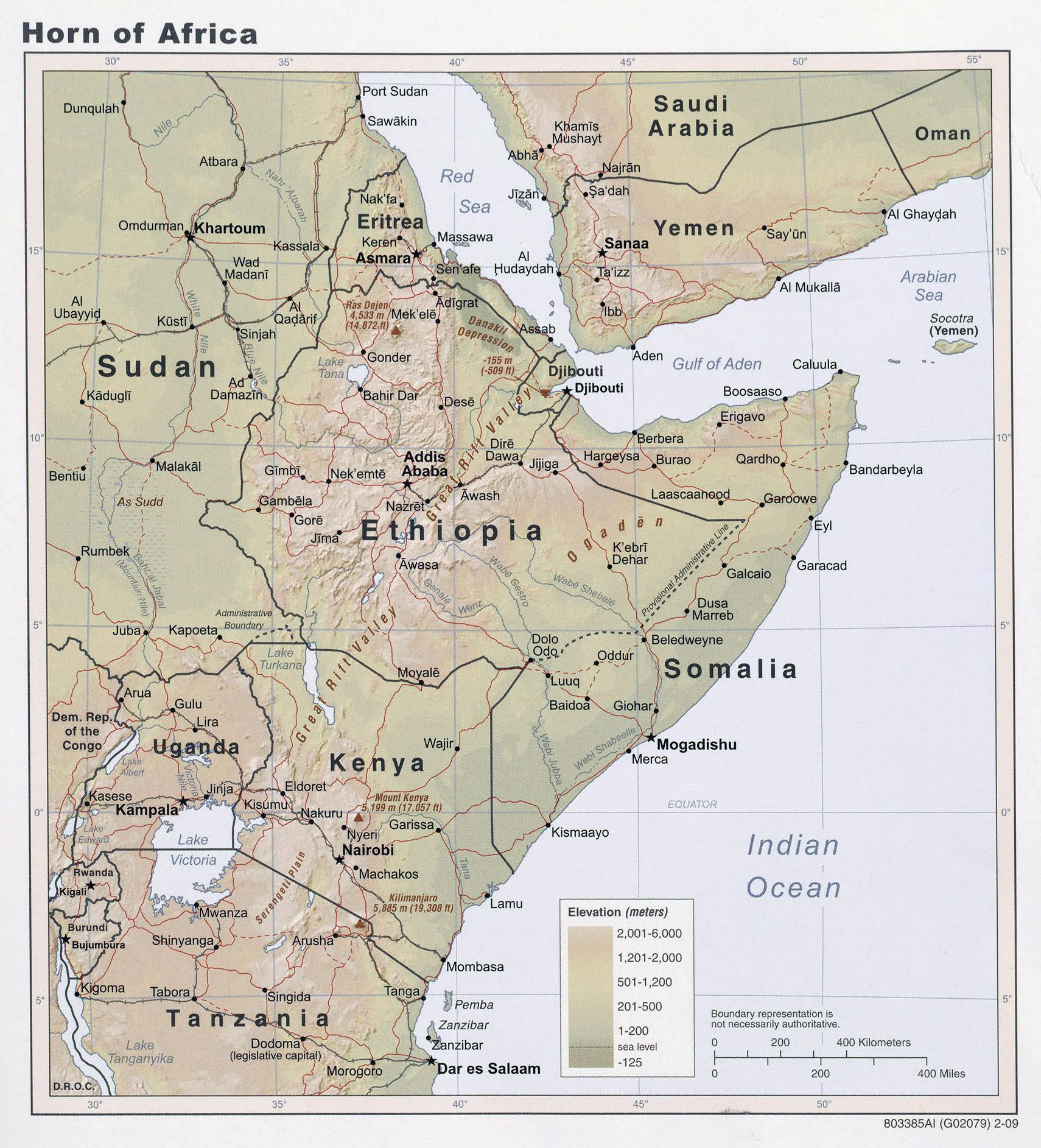 Cuerno De Africa Mapa.Mapa Grande Elevacion Detallada Del Cuerno De Africa 2009