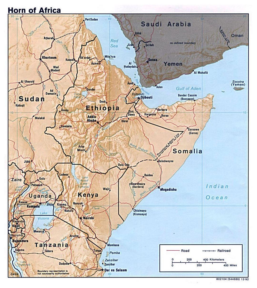 Cuerno De Africa Mapa.Mapa Politico Grande Del Cuerno De Africa Con Alivio 1992