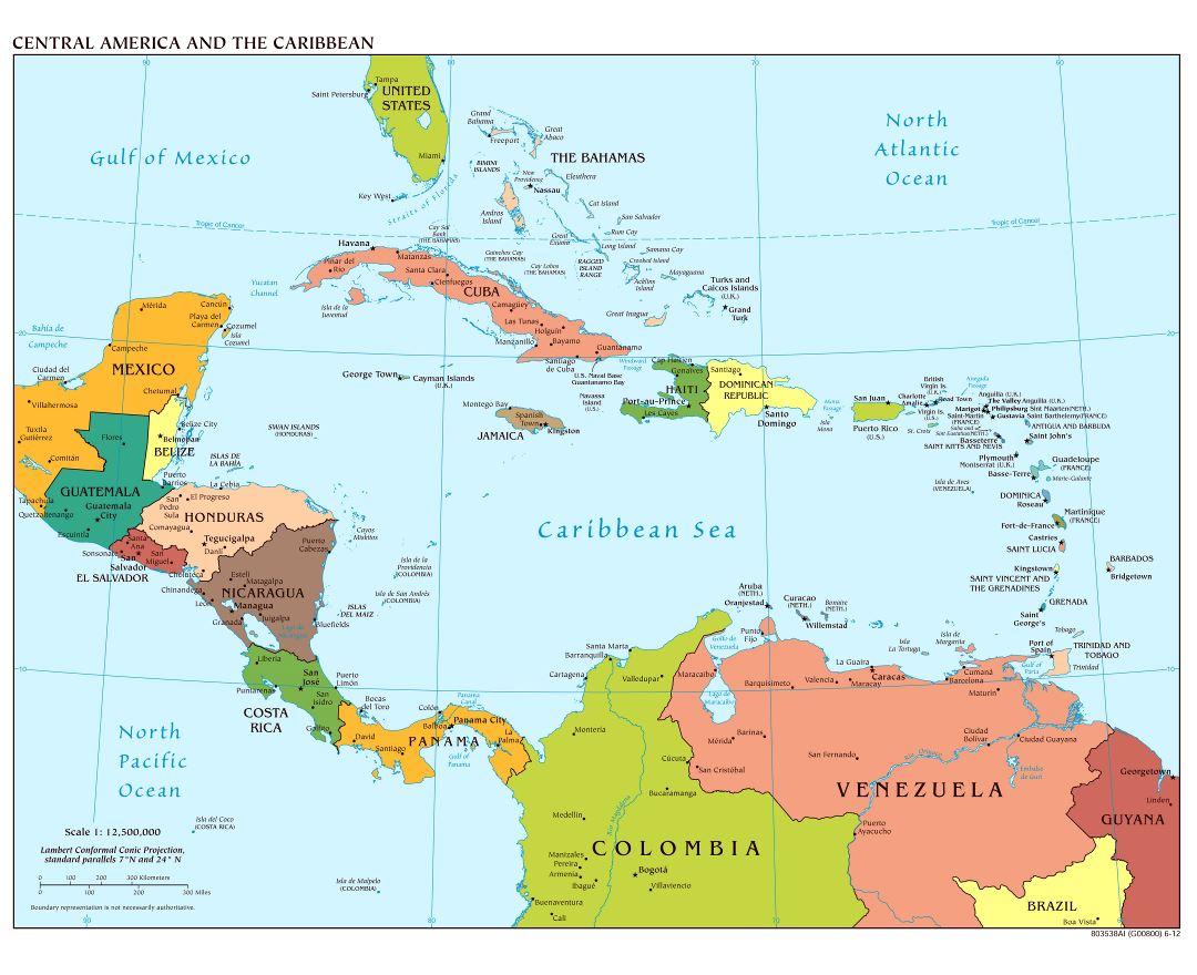 Mapa Sudamerica Y Centroamerica.Mapas De America Central Y El Caribe Coleccion De Mapas De