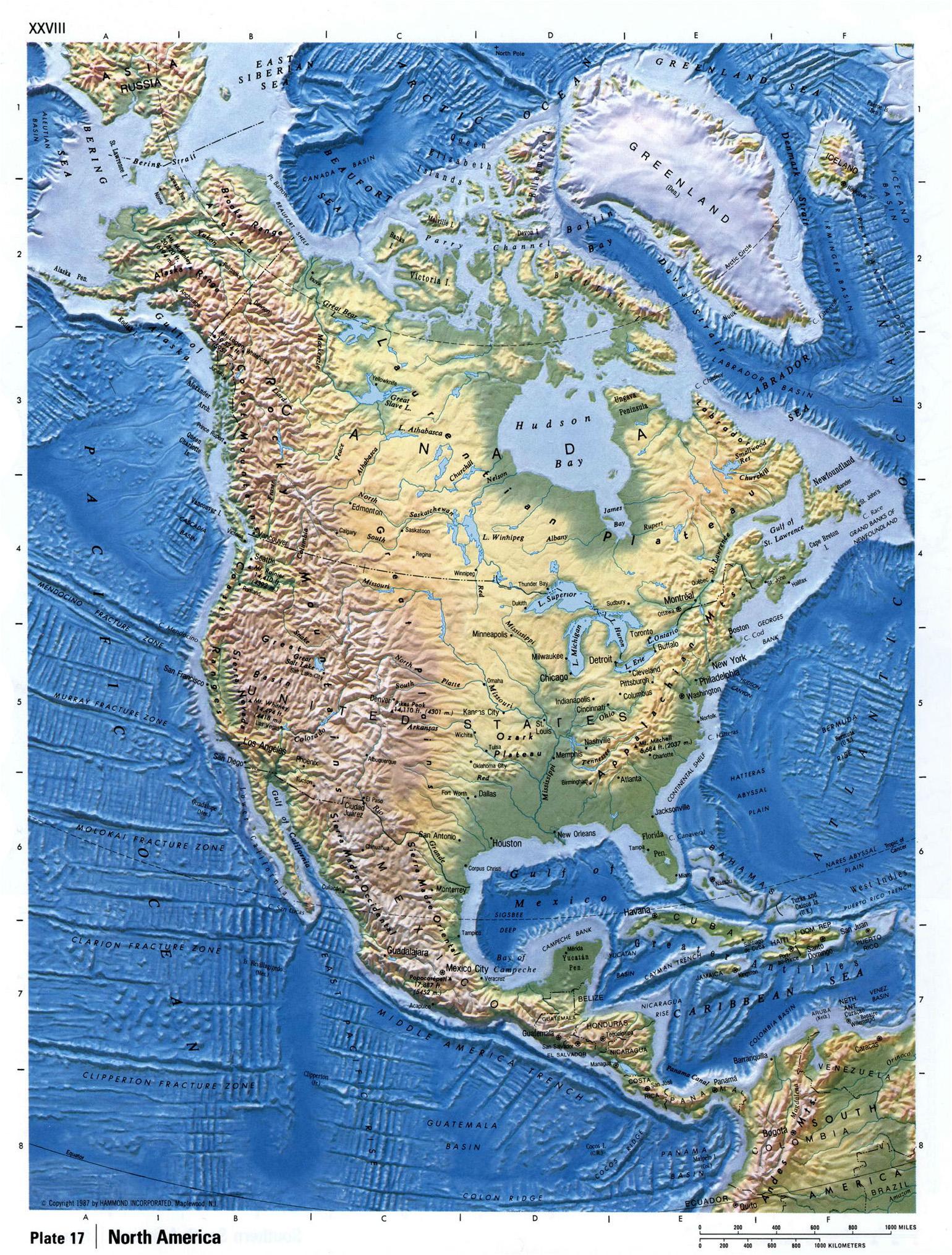 Mapa Detallado Relieve De América Del Norte América Del Norte Mapas Del Mundo