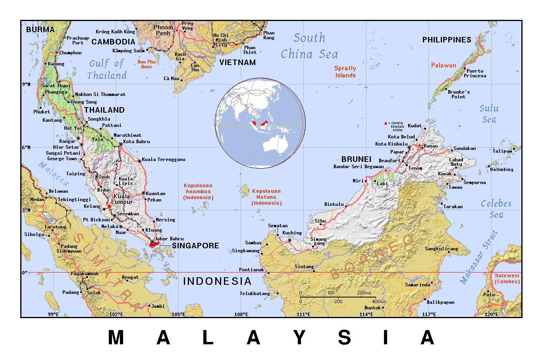 Detallado Mapa Politico De Malasia Con Alivio Malasia Asia