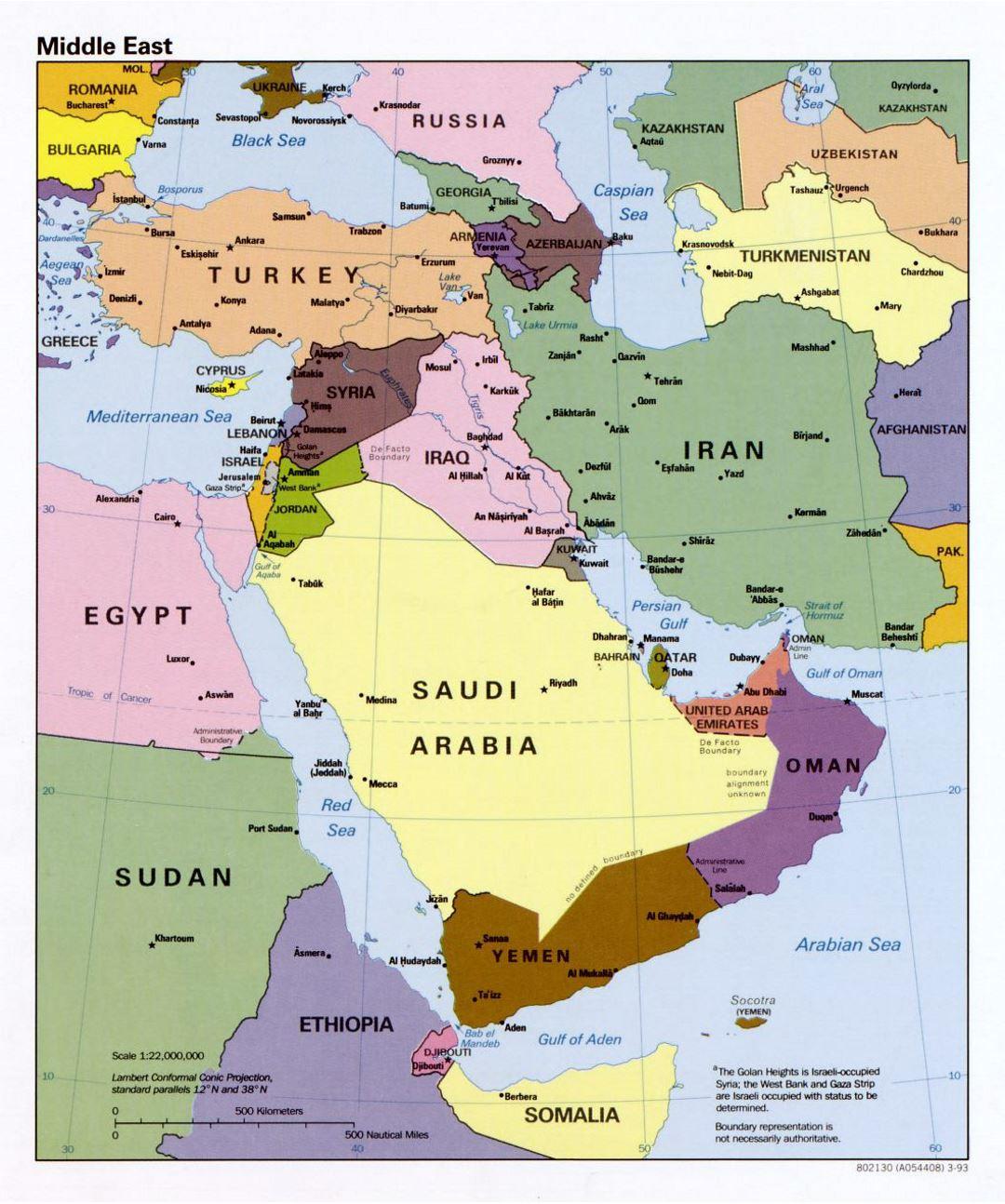 Picture of: Mapa Politico Detallada Del Oriente Medio 1993 Medio Oriente Asia Mapas Del Mundo