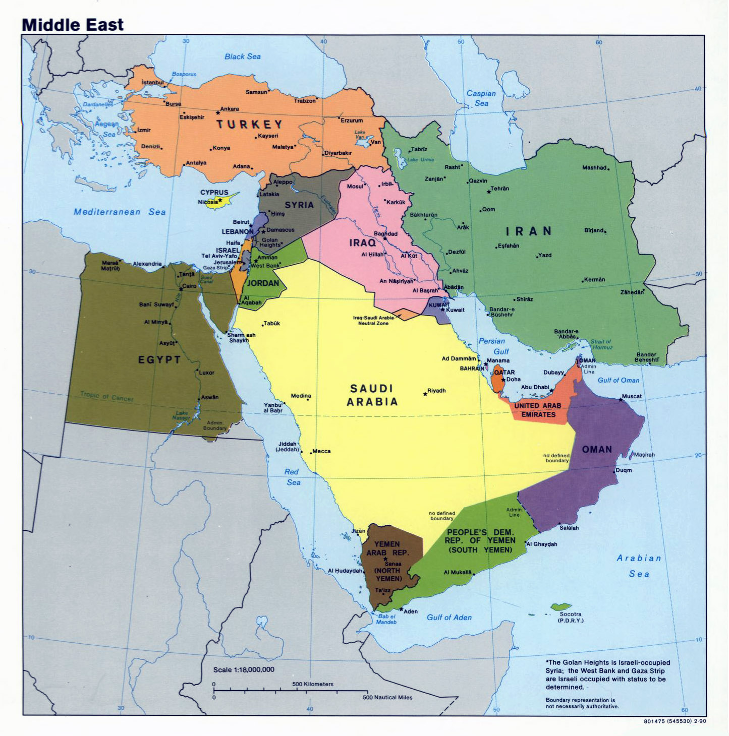 Mapa Politico Grande De Oriente Medio 1990 Medio Oriente