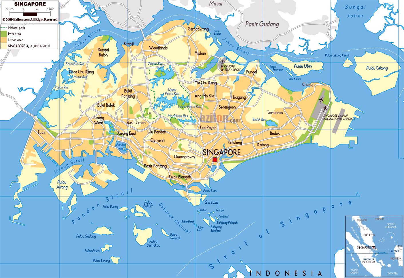 Grande Mapa Fisico De Singapur Con Carreteras Y Aeropuertos
