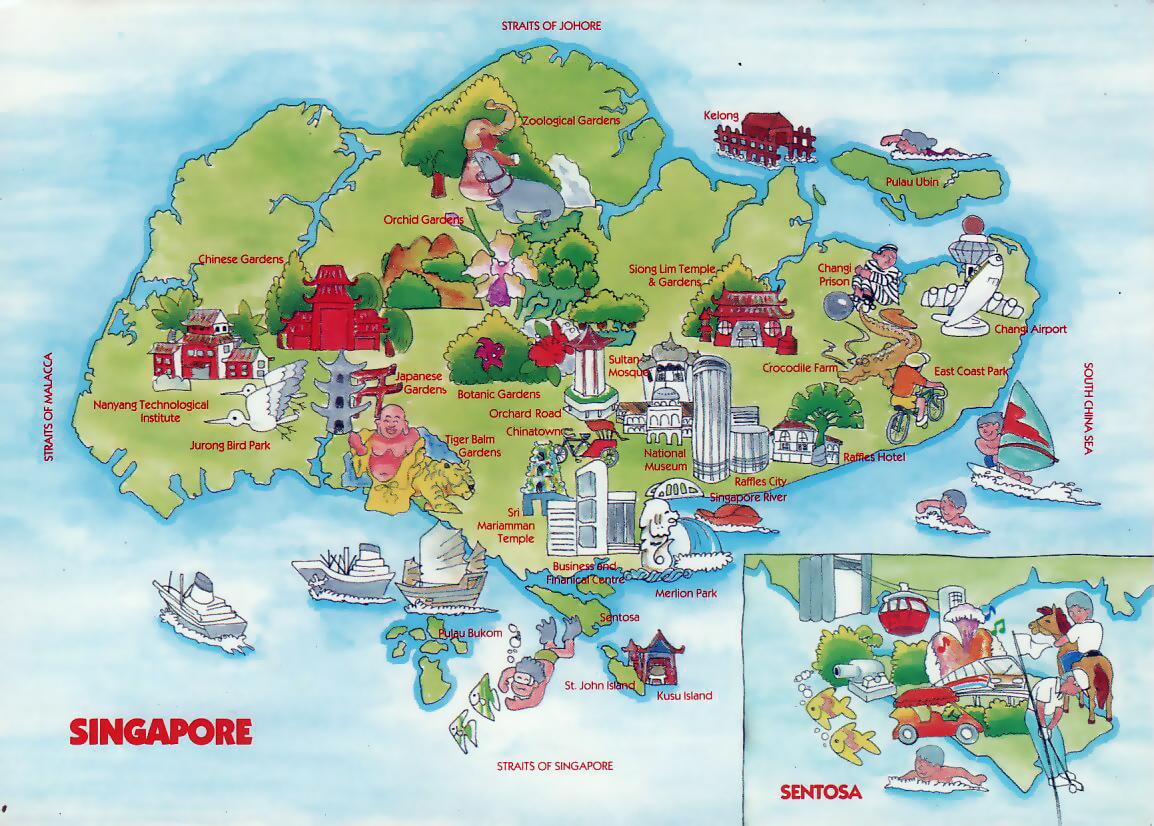 Mapa Viaje Ilustrado De Singapur Singapur Asia Mapas Del Mundo