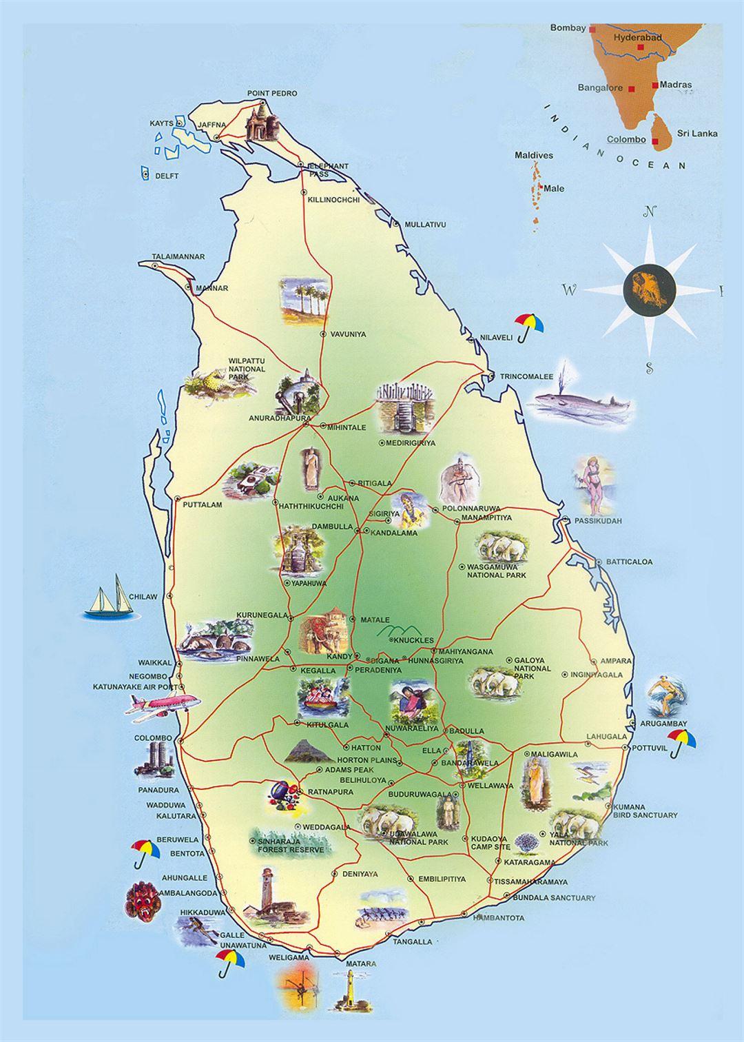 Detallado Mapa De Viaje De Sri Lanka Sri Lanka Asia Mapas