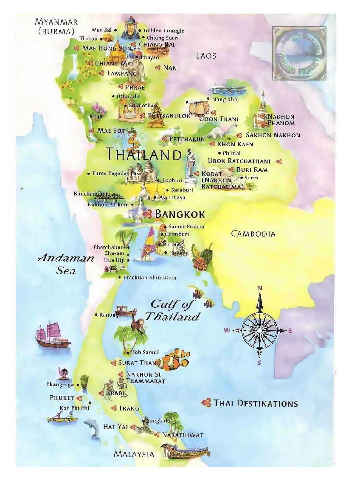 Mapa Ilustrado Turistico De Tailandia Tailandia Asia Mapas