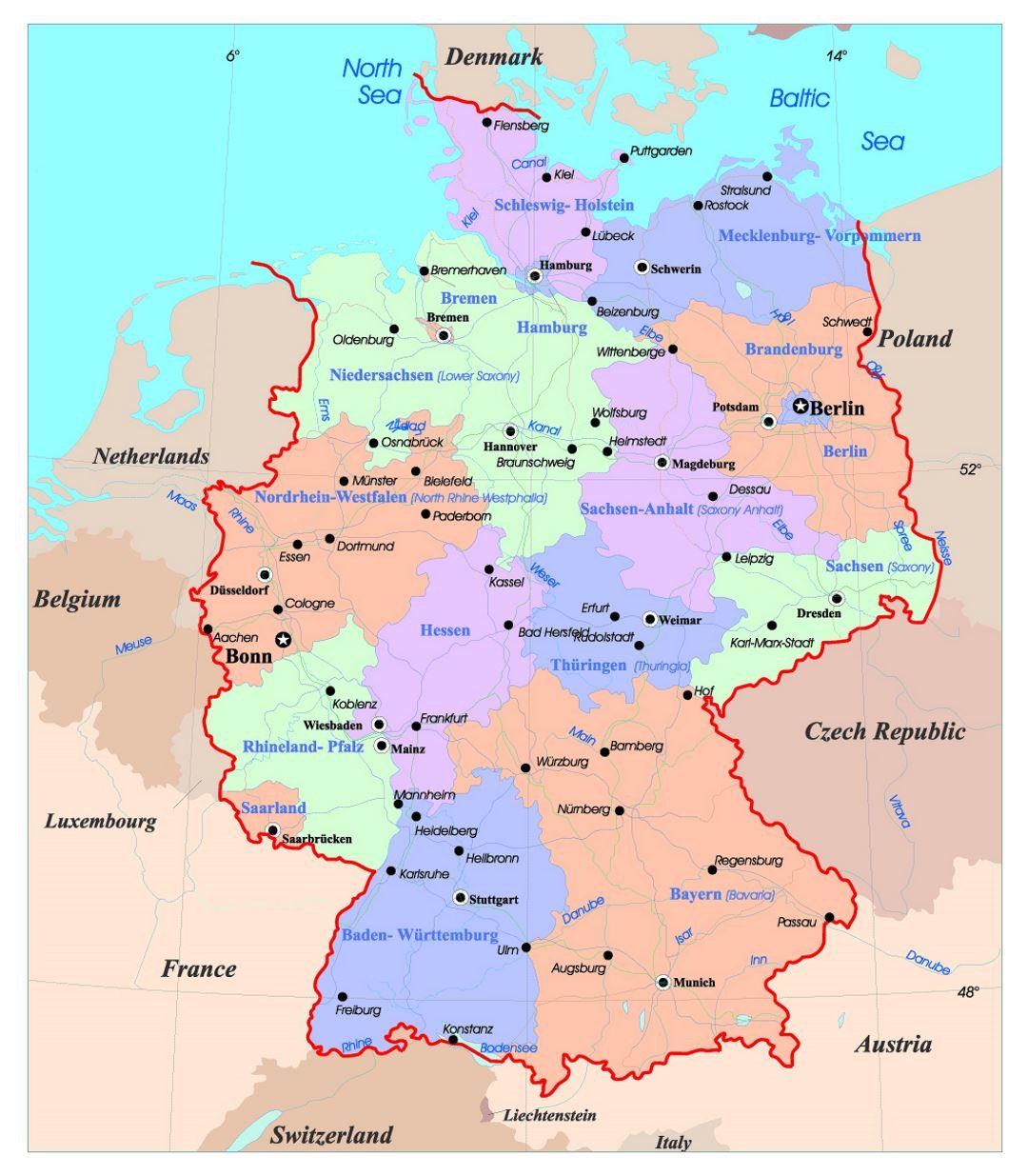 Mapa De Alemania Ciudades.Mapa Administrativo Detallado De Alemania Con Las