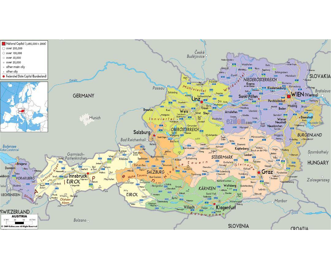 Mapa Politico De Austria.Mapas De Austria Coleccion De Mapas De Austria Europa