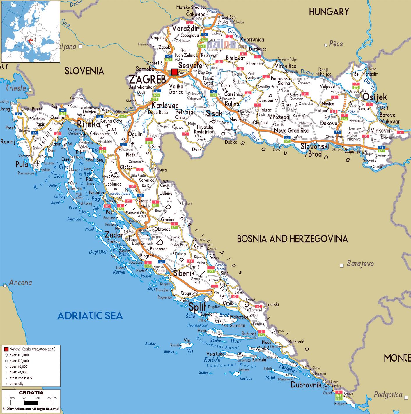 Gran Mapa De Carreteras De Croacia Con Las Ciudades Y Aeropuertos