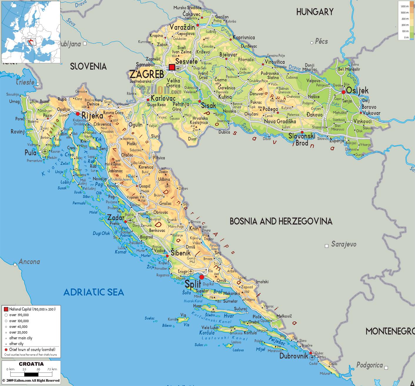 Mapa Fisico Grande De Croacia Con Carreteras Ciudades Y