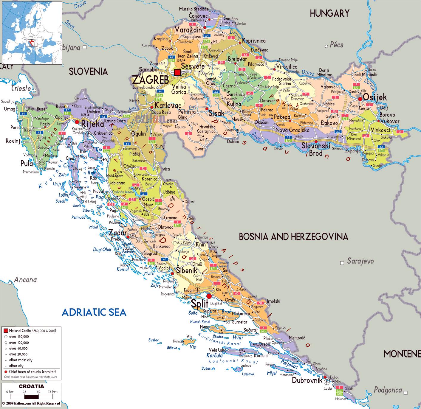 Mapa Politico Y Administrativo Grande De Croacia Con Carreteras