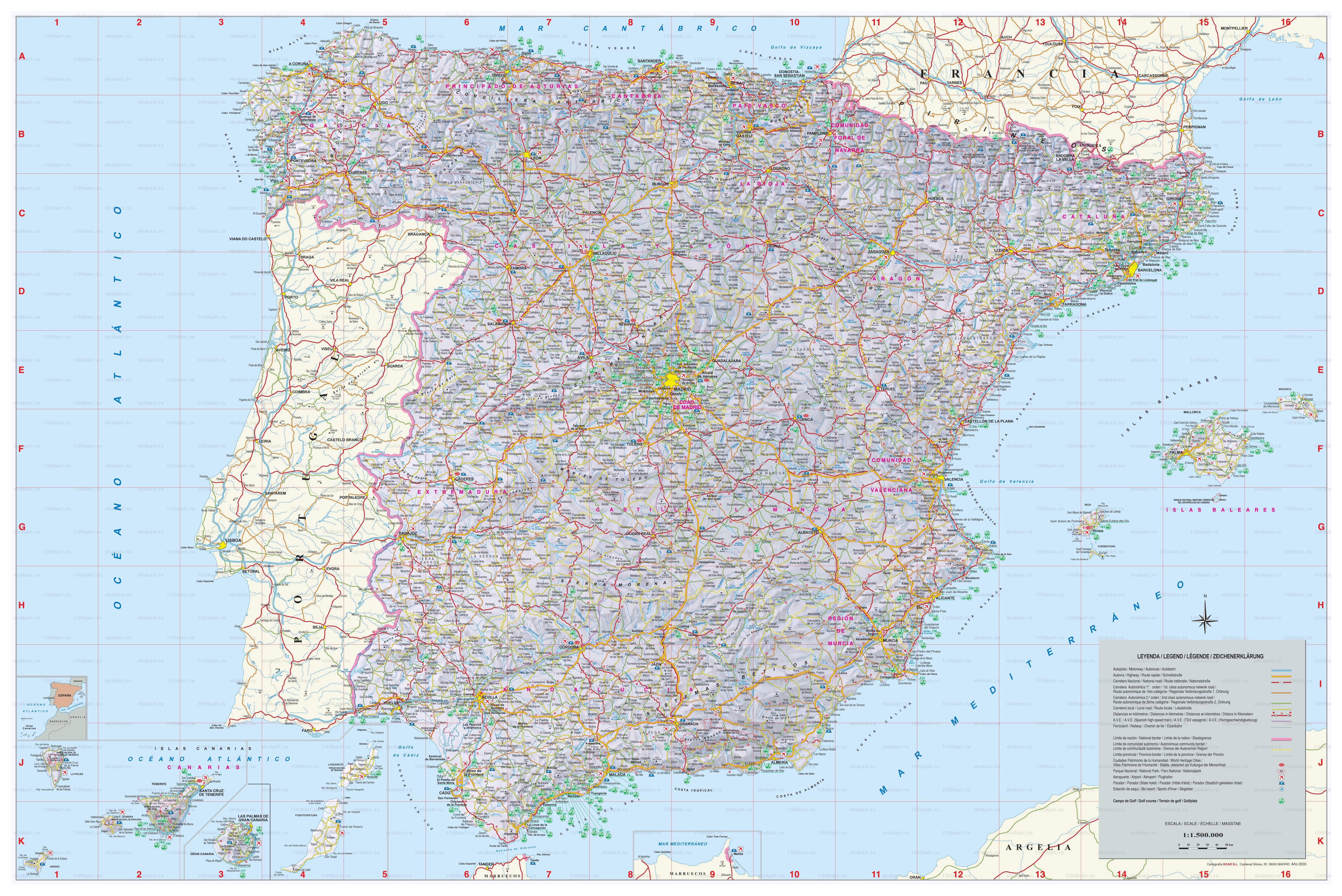 A Gran Escala Mapa De Espana Con Todas Ciudades Pueblos