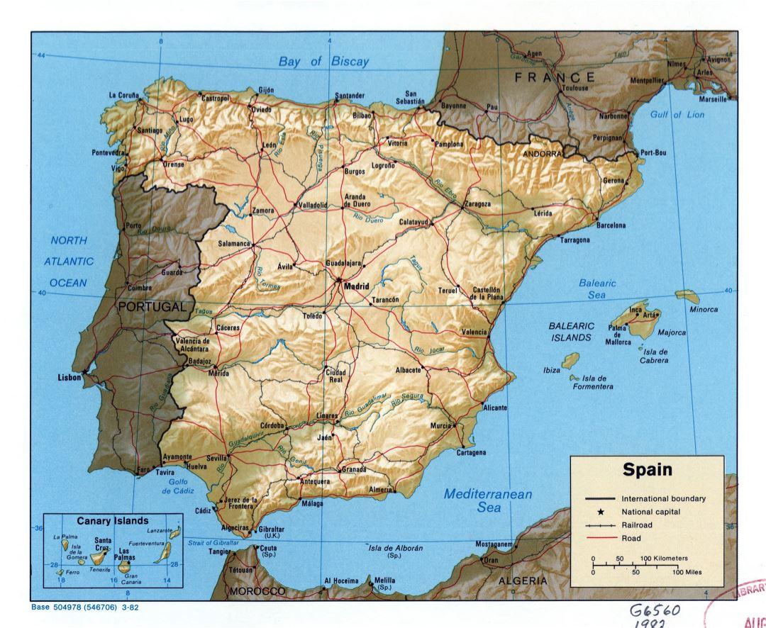 A Gran Escala Mapa Politico De Espana Con Relieve Carreteras