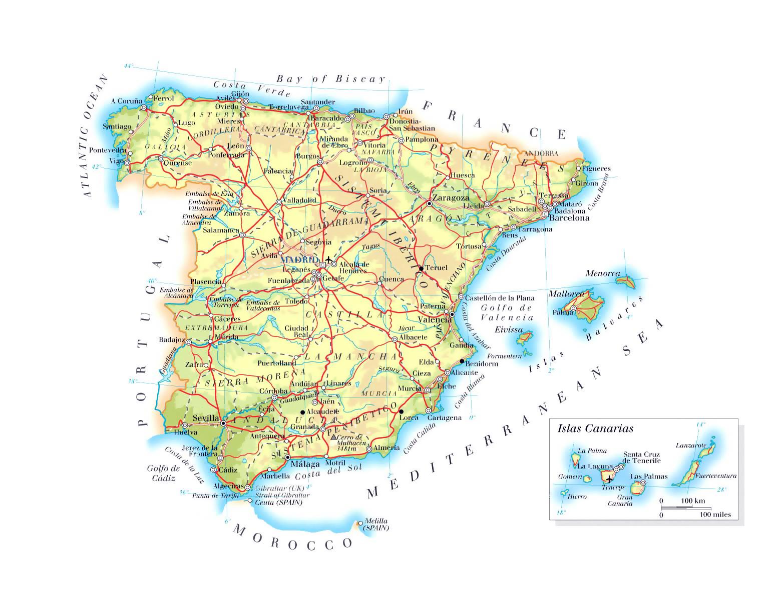 Detallado Mapa De Elevacion De Espana Con Carreteras Principales