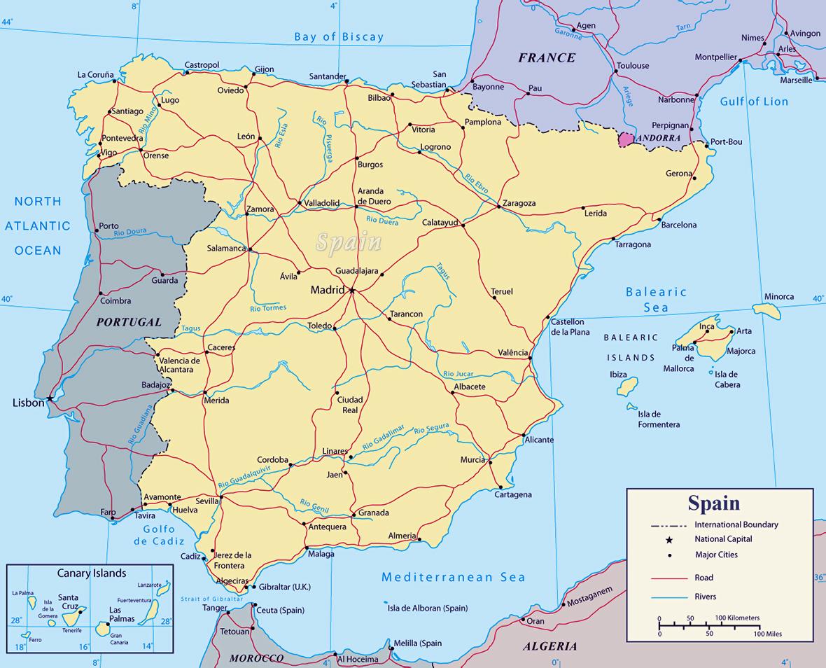 Mapa De Avila Capital.Detallado Mapa Politico De Espana Con Carreteras Principales