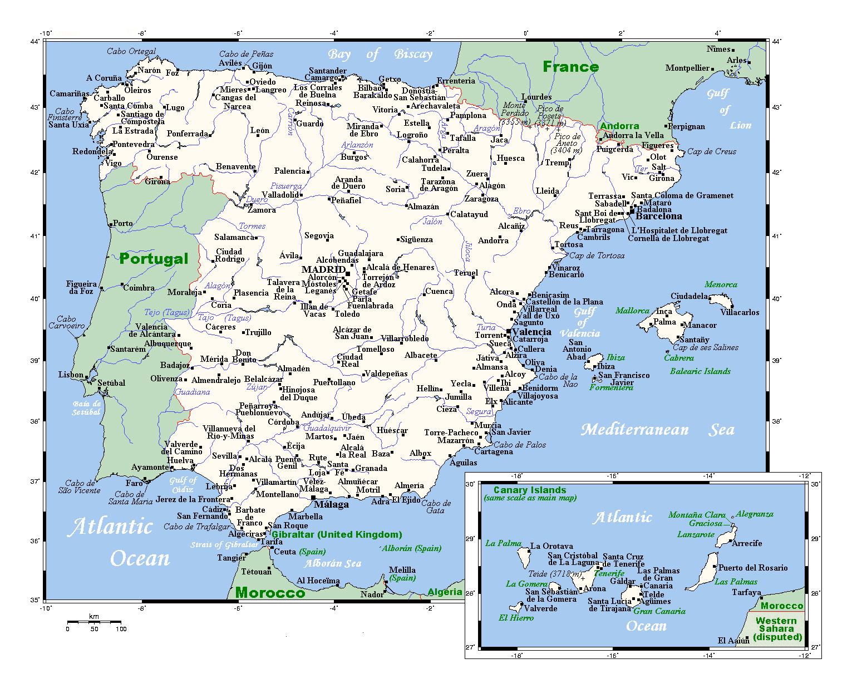 Grande Mapa De Espana Con Principales Ciudades Espana Europa