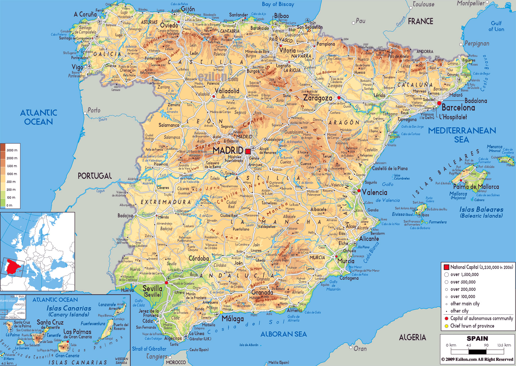 Aeropuertos En España Mapa.Grande Mapa Fisico De Espana Con Carreteras Ciudades Y