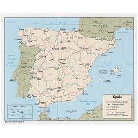 Grande Mapa Politico De Espana Con Relieve Carreteras Vias
