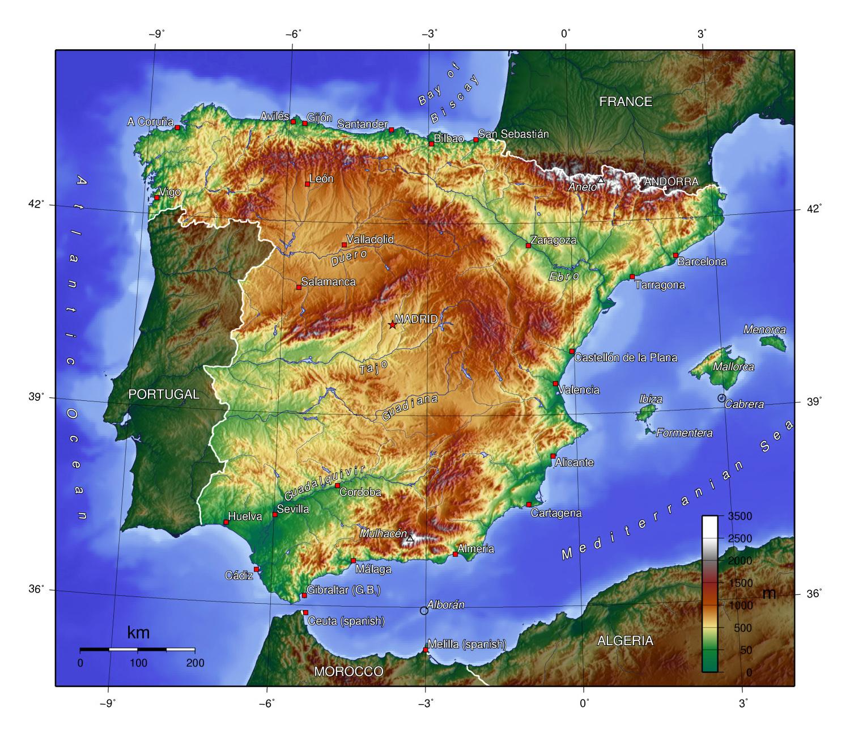 Grande Mapa Topografico De Espana Espana Europa Mapas Del Mundo