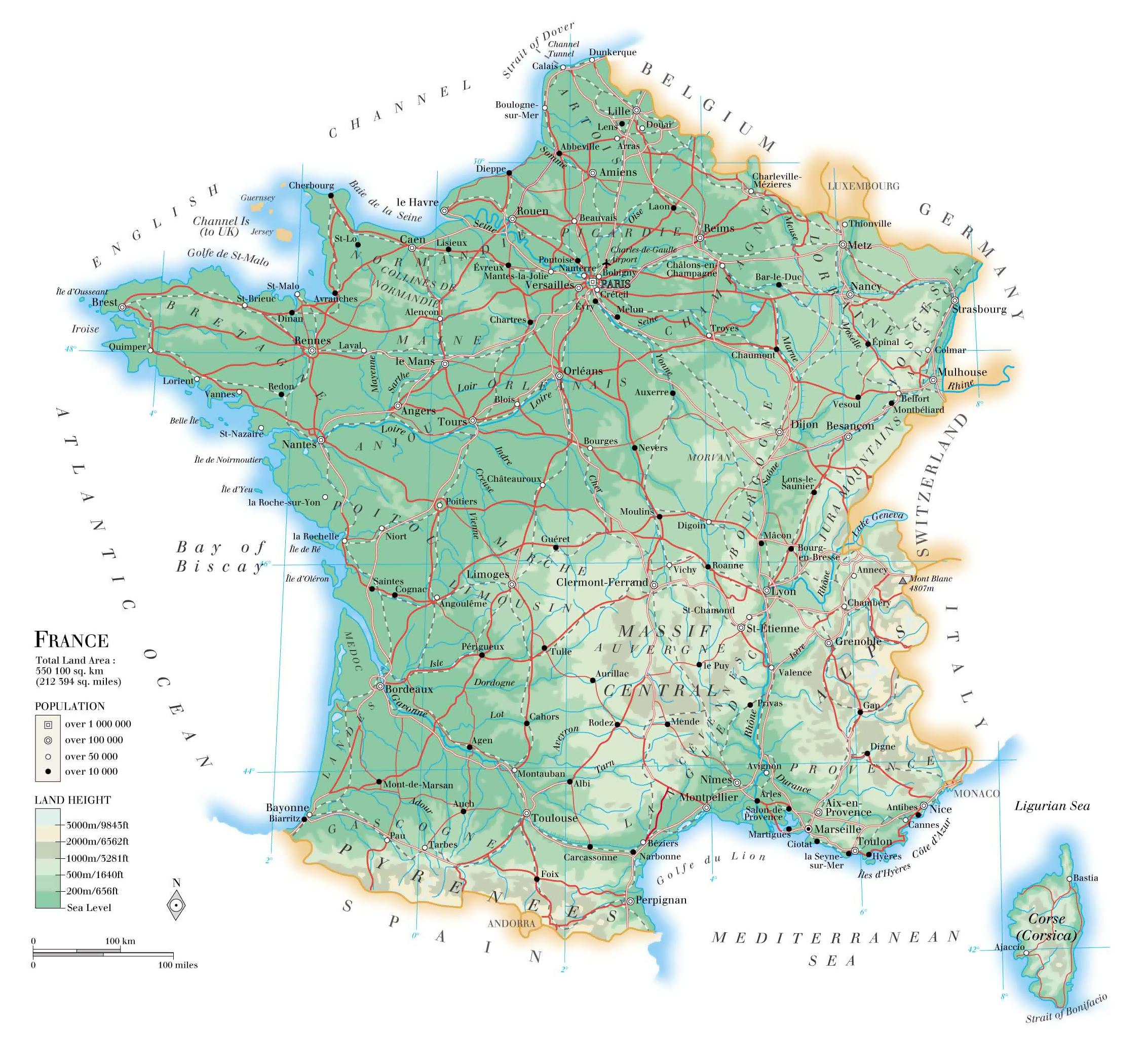 Mapa Sur De Francia Ciudades.Mapa Fisico Detallado De Francia Con Carreteras Ciudades Y