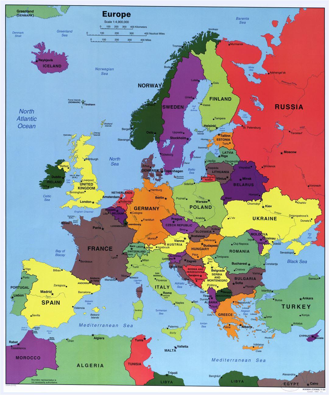 Politico Mapa Europa Con Capitales.Gran Escala Del Mapa Politico Detallado De Europa Con Las