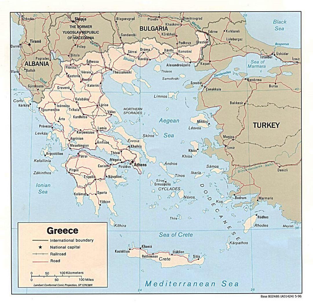 Mapa Politico De Grecia.Detallada Mapa Politico De Grecia Con Las Carreteras Y Las