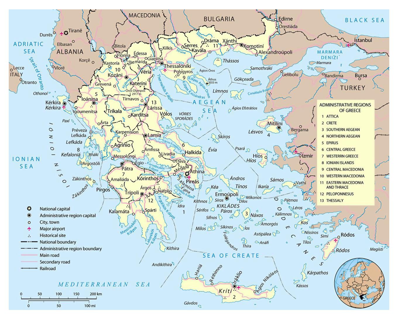 Mapa Politico De Grecia.Mapa Politico Y Administrativo Grande De Grecia Con Las