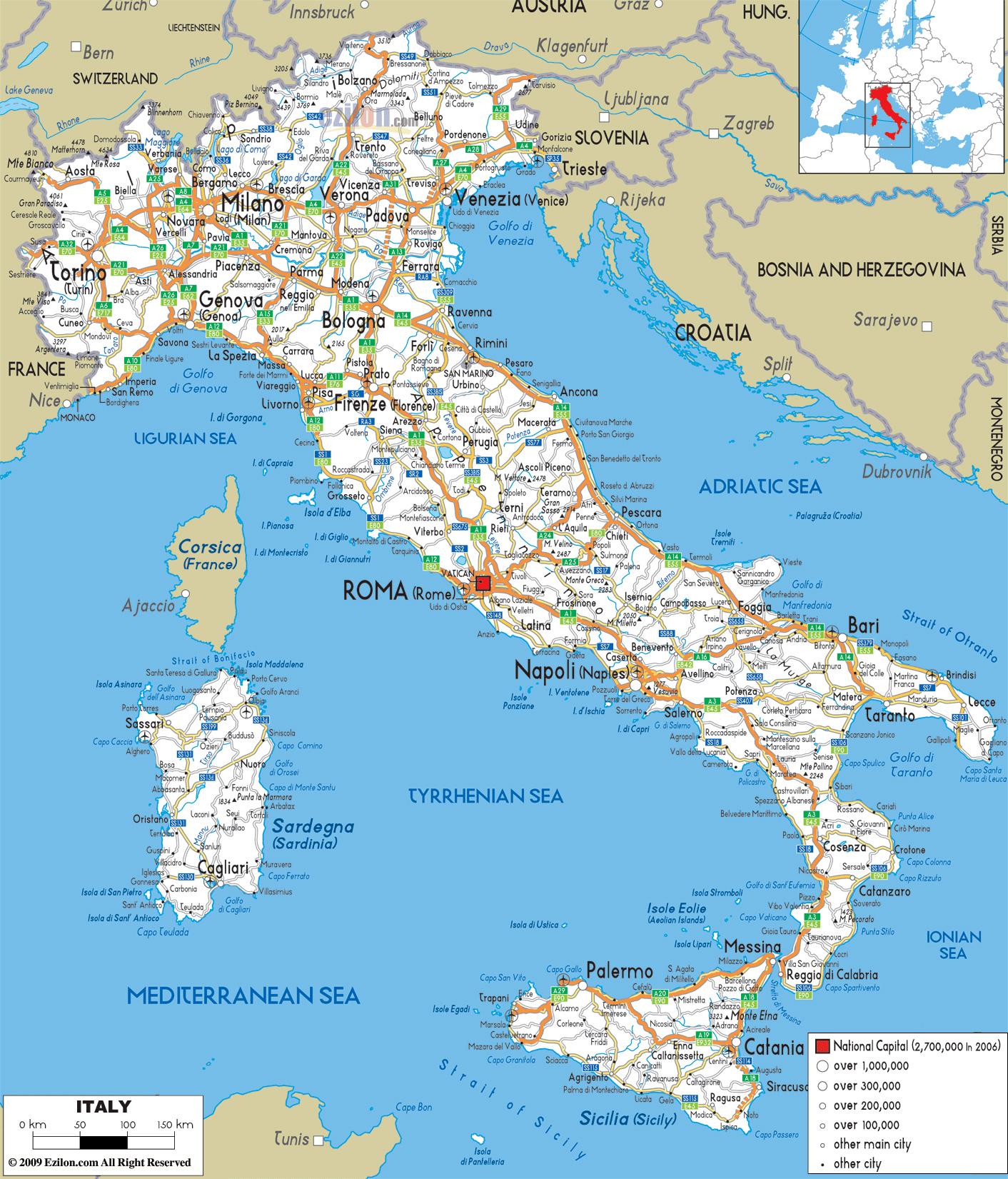 Aeropuertos De Italia Mapa.Gran Hoja De Ruta De Italia Con Las Ciudades Y Aeropuertos