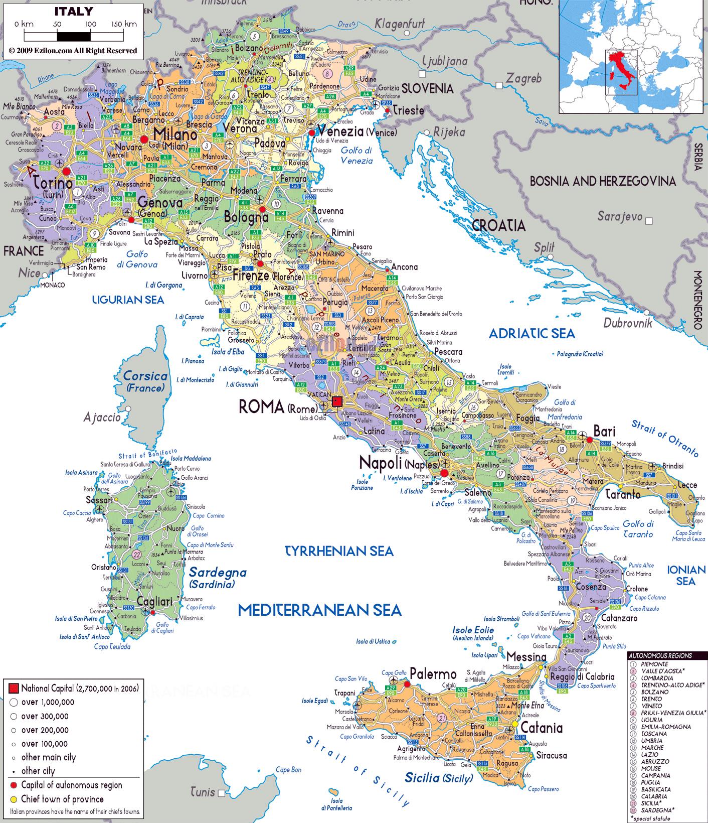 Aeropuertos De Italia Mapa.Mapa Politico Y Administrativo Grande De Italia Con