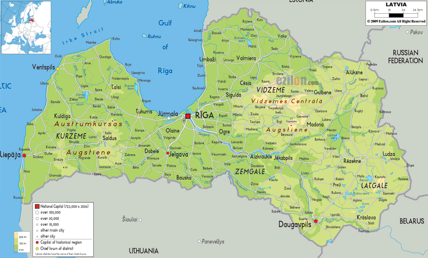 Grande Mapa Fisico De Letonia Con Carreteras Ciudades Y