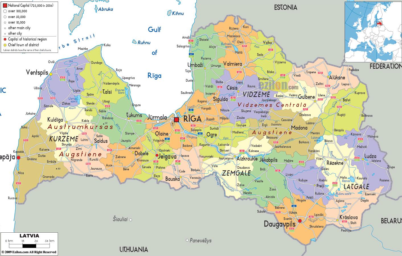 Grande Mapa Politico Y Administrativo De Letonia Con Carreteras