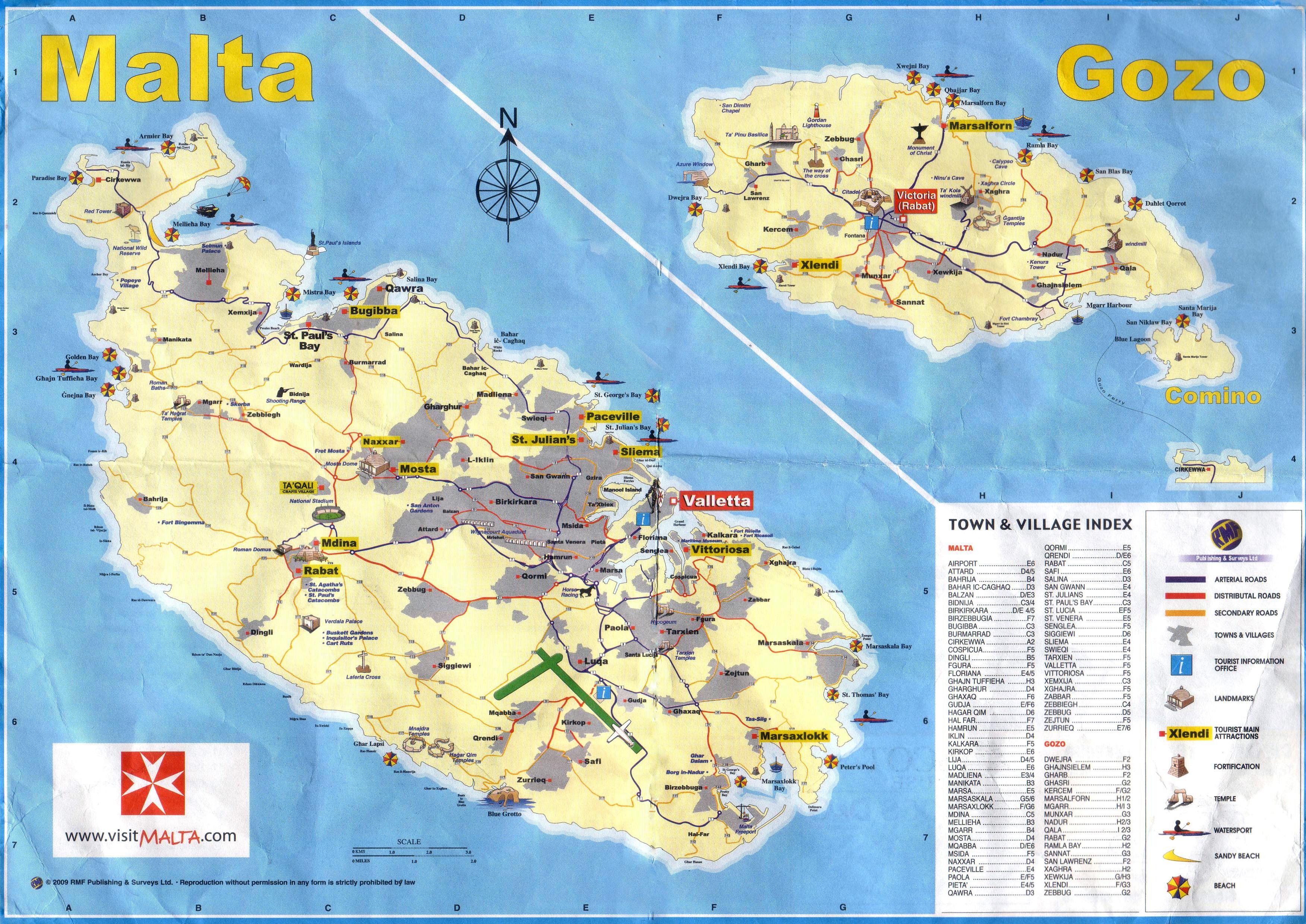 A Gran Escala Mapa Turistico De Malta Y Gozo Con Carreteras