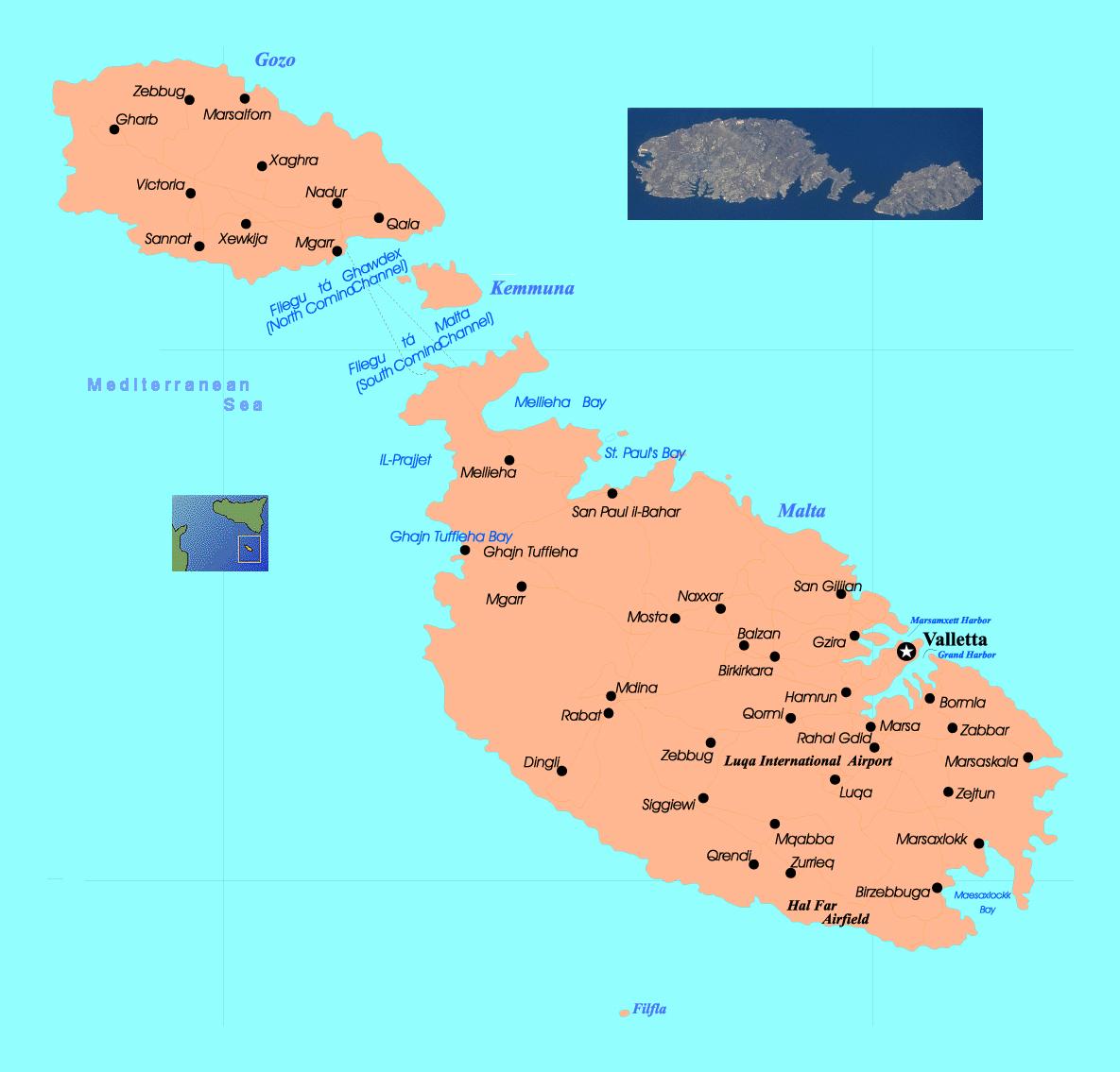 Detallado Mapa De Malta Y Gozo Con Carreteras Y Ciudades Malta
