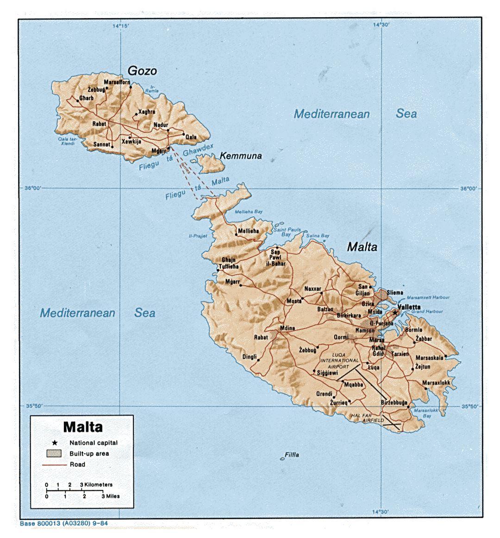 Detallado Mapa Politico De Malta Con Alivio Carreteras Ciudades