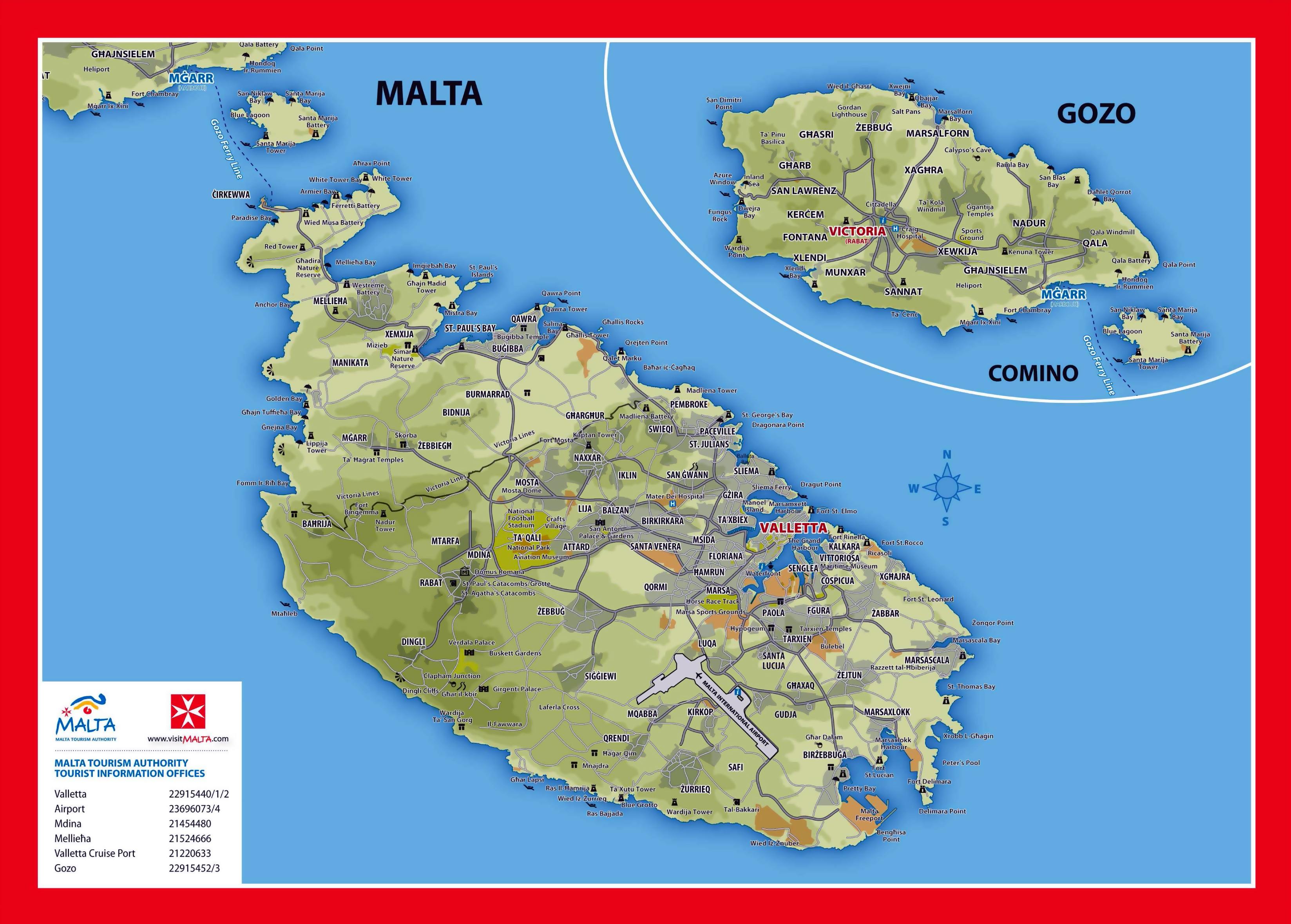 Grande Detallado Mapa Elevacion Y Turistico De Malta Y Gozo Con