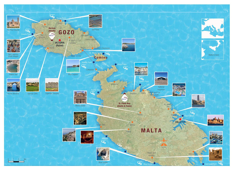 Mapa De Viaje Grande De Malta Y Gozo Malta Europa Mapas Del