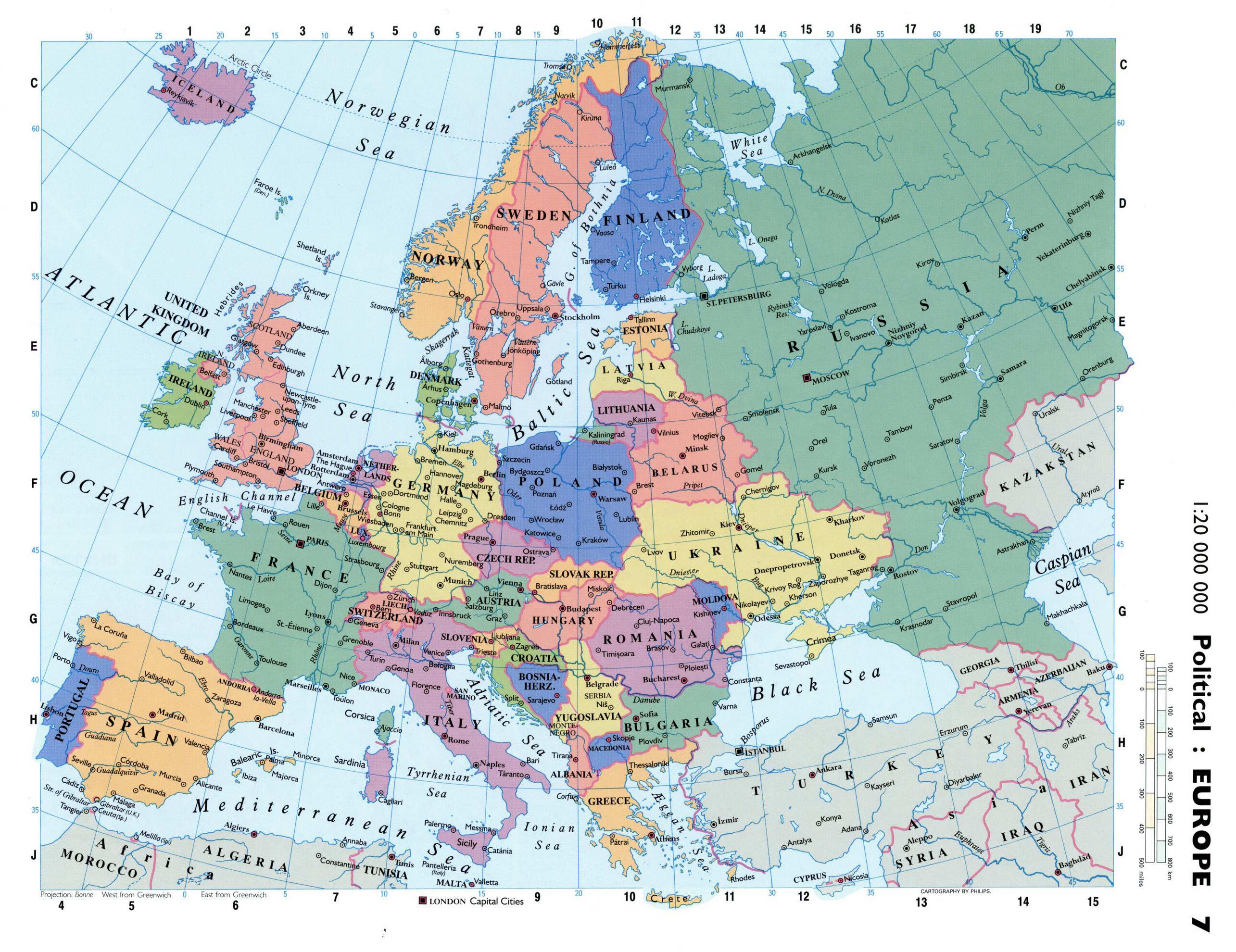 Politico Mapa Europa Con Capitales.Mapa Politico Detallado De Europa Con Las Capitales Y
