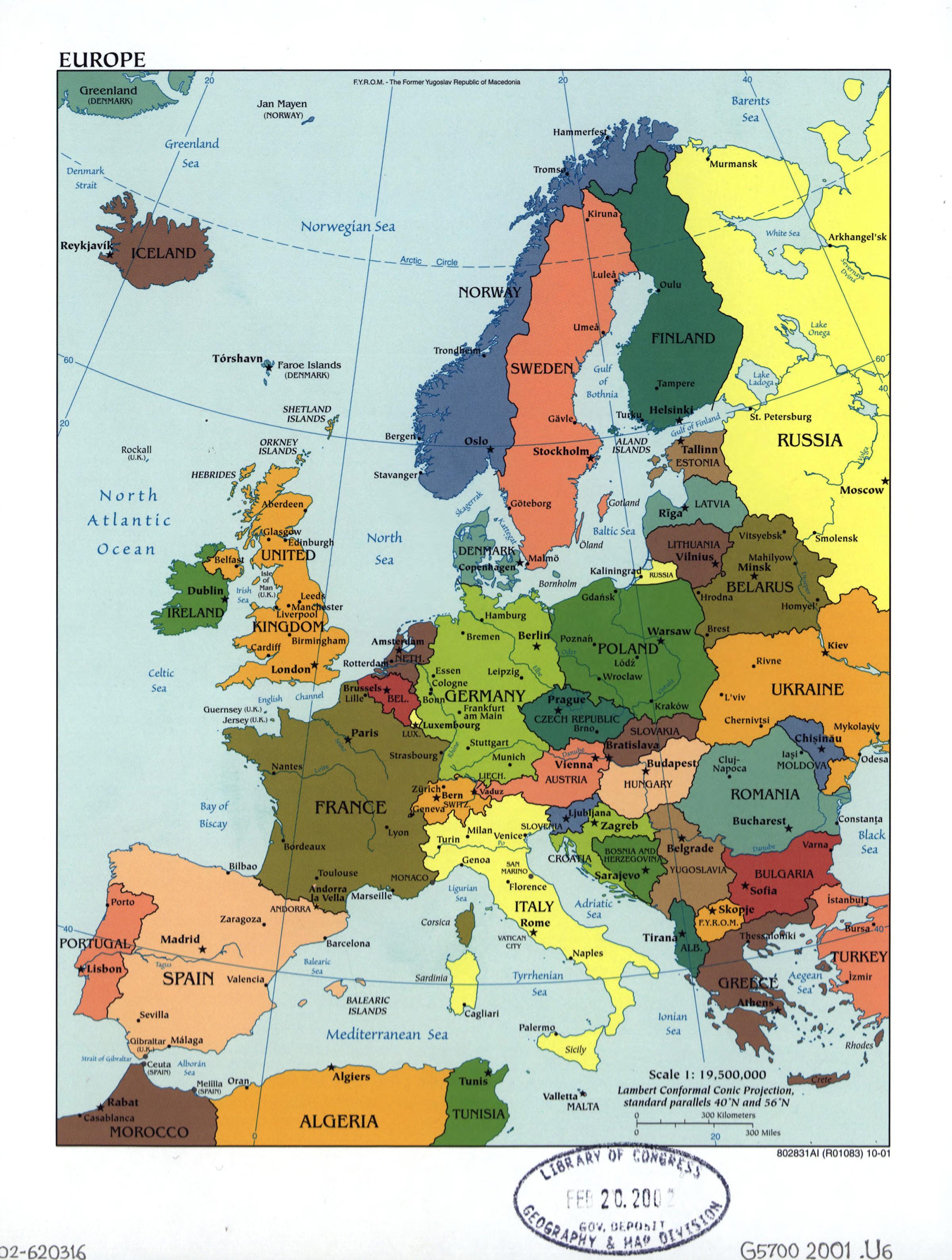 Mapa Europa Politico Capitales.Mapa Politico Grande De Europa Con Las Marcas De Las Capitales Y Principales Ciudades 2001 Europa Mapas Del Mundo