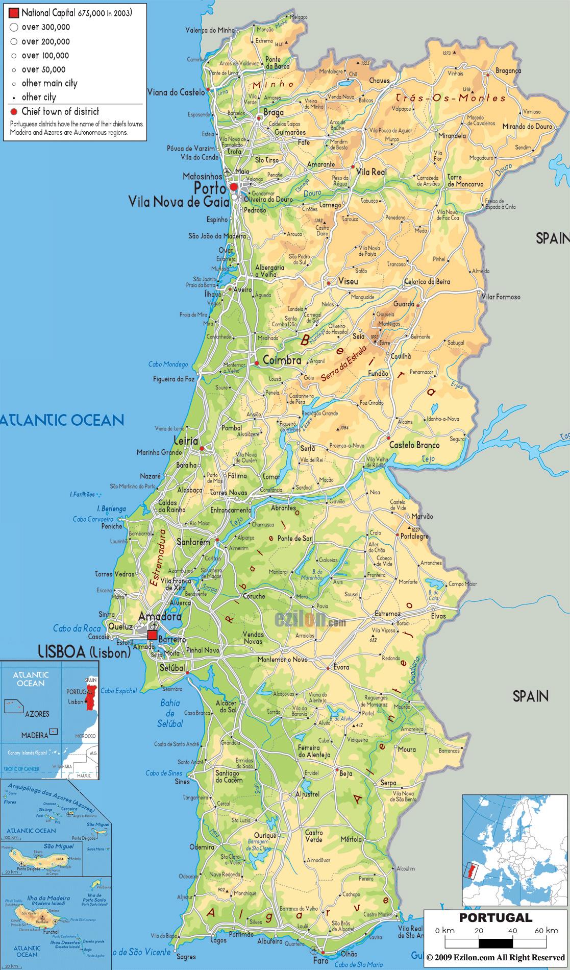 Mapa De Carreteras Portugal.Grande Mapa Fisico De Portugal Con Carreteras Ciudades Y