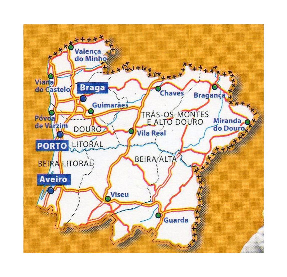 Mapa De Carreteras Portugal.Detallado Mapa De Norte De Portugal Con Ciudades Y