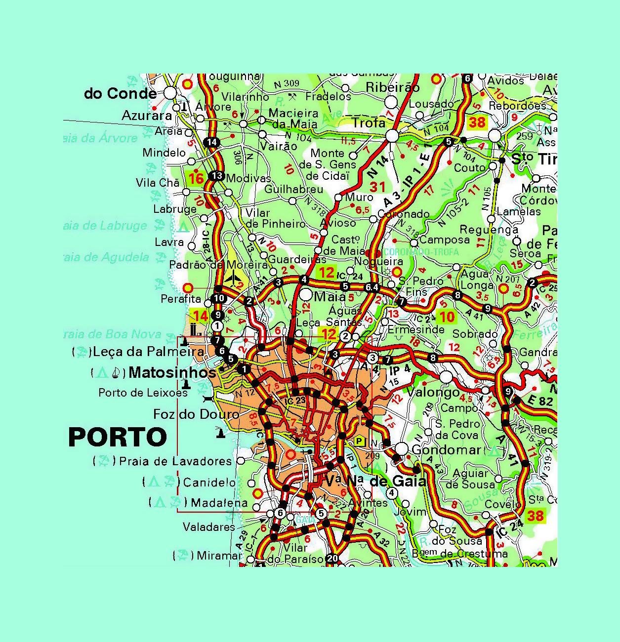 Oporto En El Mapa.Detallado Carreteras Mapa De La Ciudad De Oporto Y Sus Alrededores Con Otras Marcas Porto Portugal Europa Mapas Del Mundo