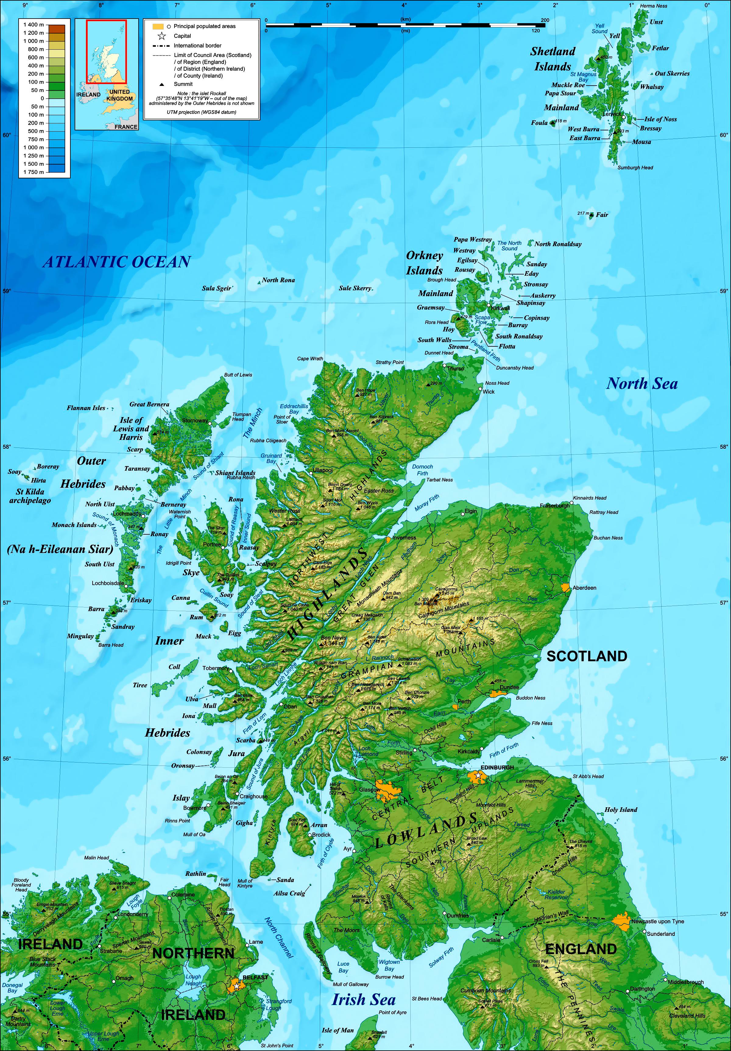 Grande Detallado Mapa Topografico De Escocia Escocia Reino