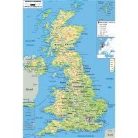 Aeropuertos Reino Unido Mapa.Detallado Mapa Fisico Del Reino Unido Con Carreteras