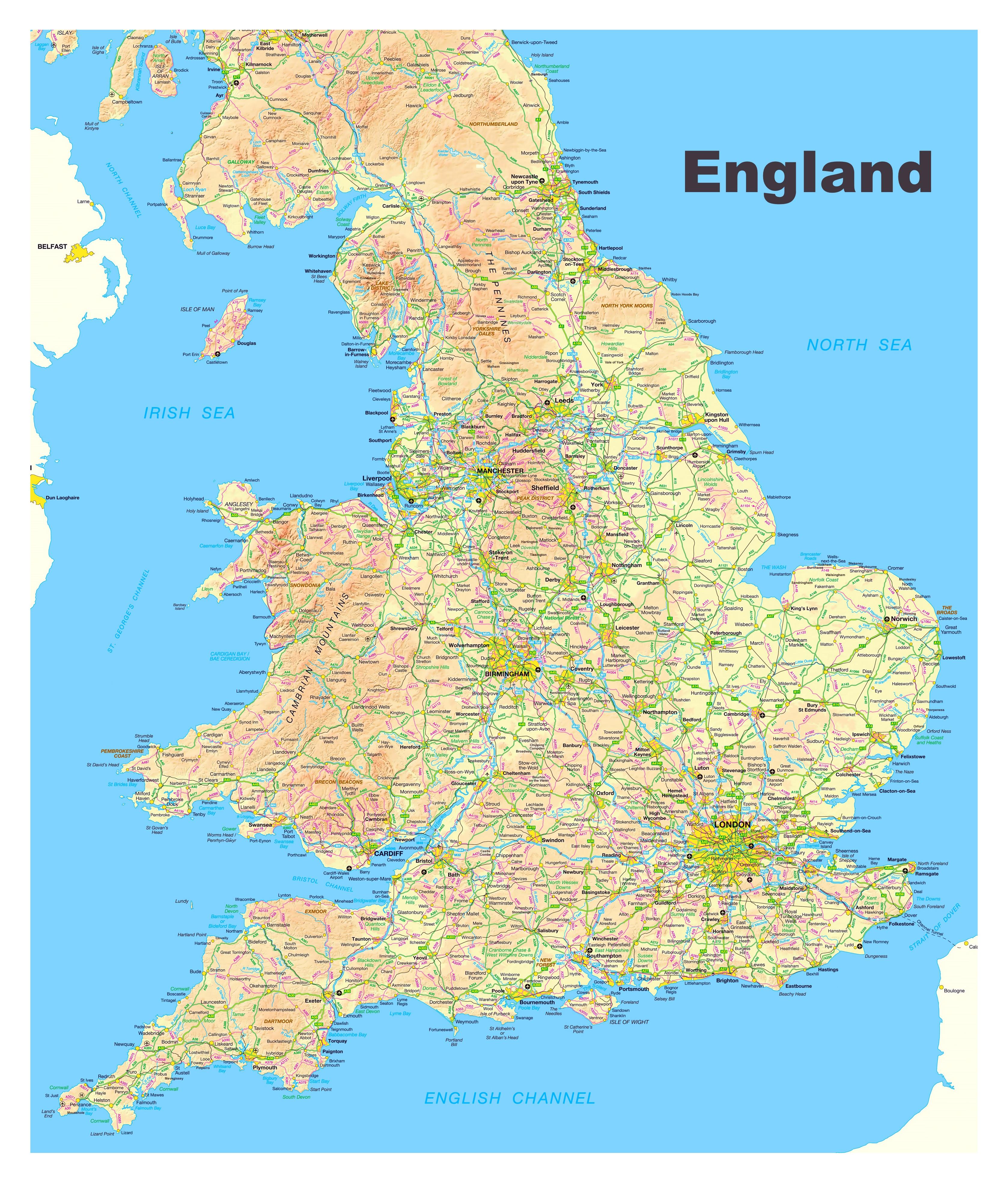 Ciudades De Inglaterra Mapa.Grande Mapa De Inglaterra Con Carreteras Ciudades Y Otras