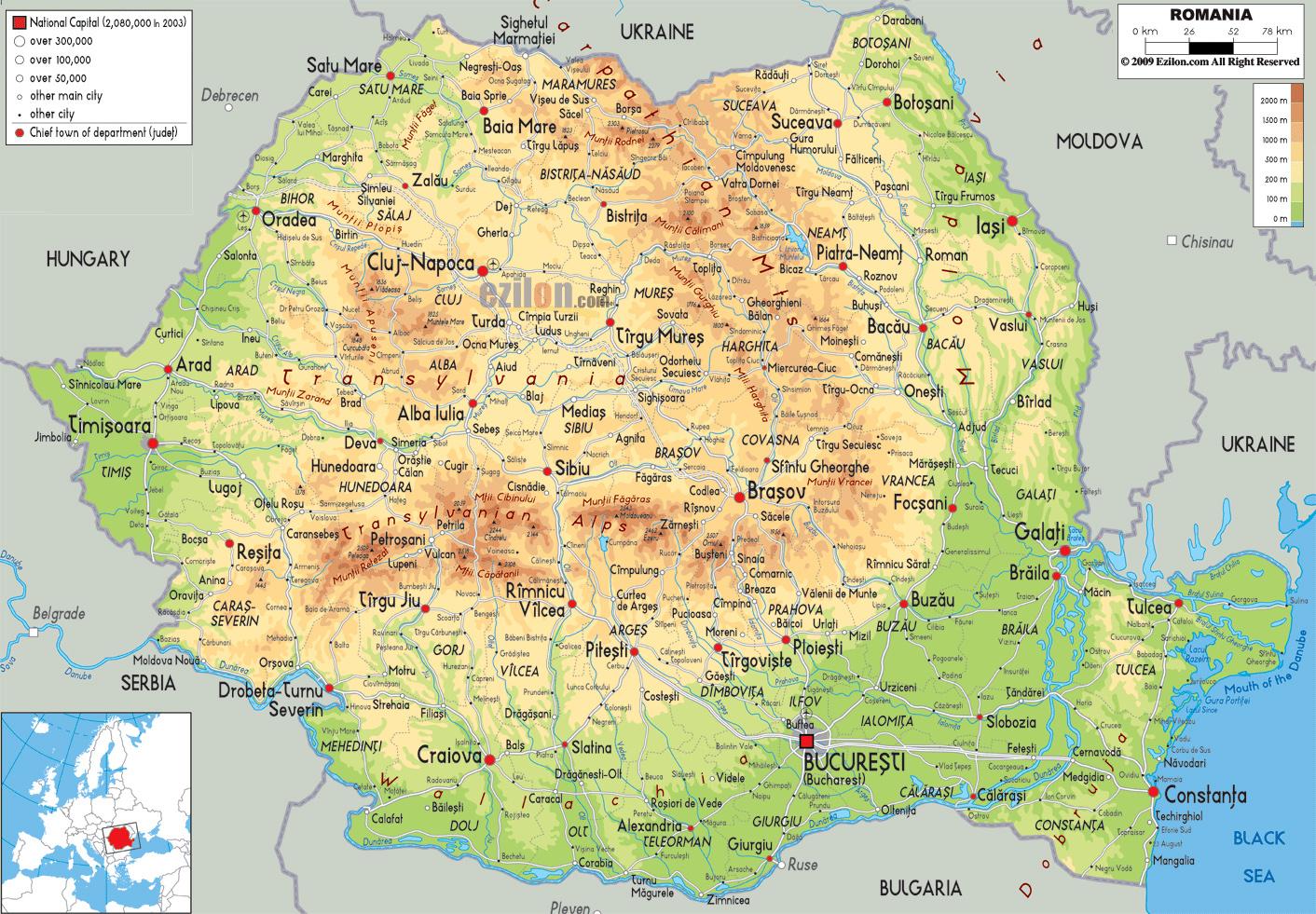 Grande Mapa Fisico De Rumania Con Carreteras Ciudades Y