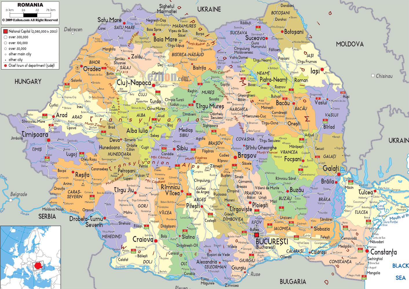 Grande Mapa Politico Y Administrativo De Rumania Con Carreteras