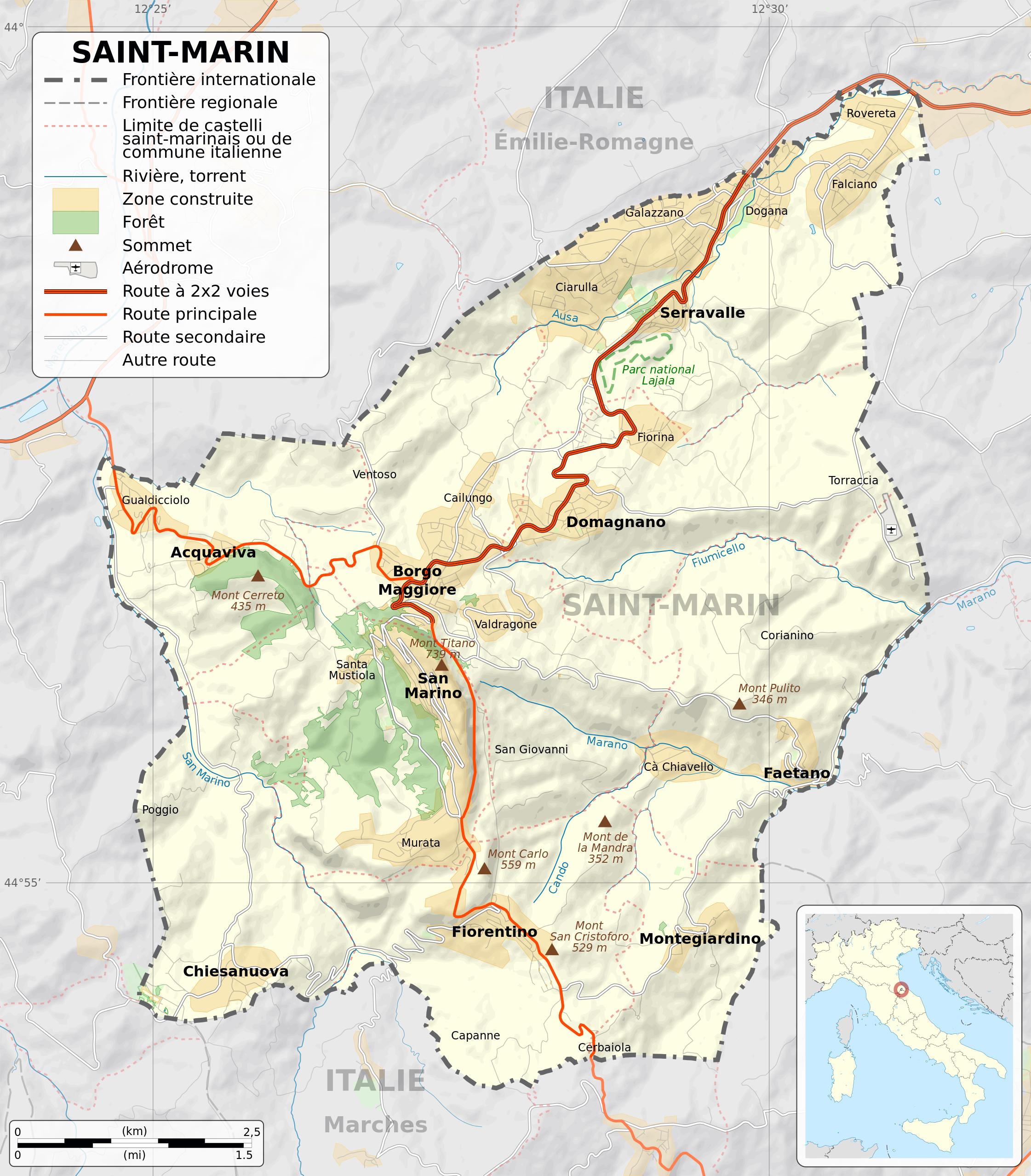 San Marino Mapa Europa.Grade Detallado Mapa Politico De San Marino Con Relieve