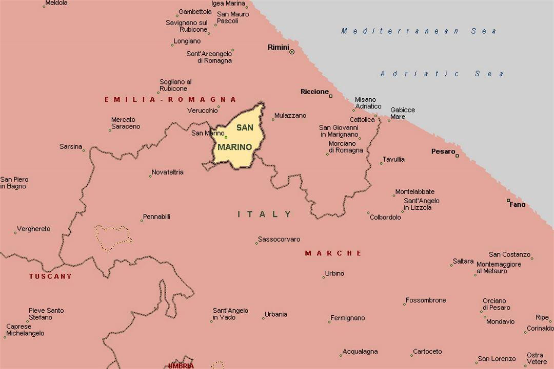 San Marino Mapa Europa.San Marino En El Mapa De Italia San Marino Europa